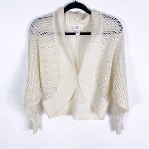 LOFT | cropped white fold-neck sweater